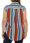 Plus Size Multi Stripe Sleeveless Stylish Shirt