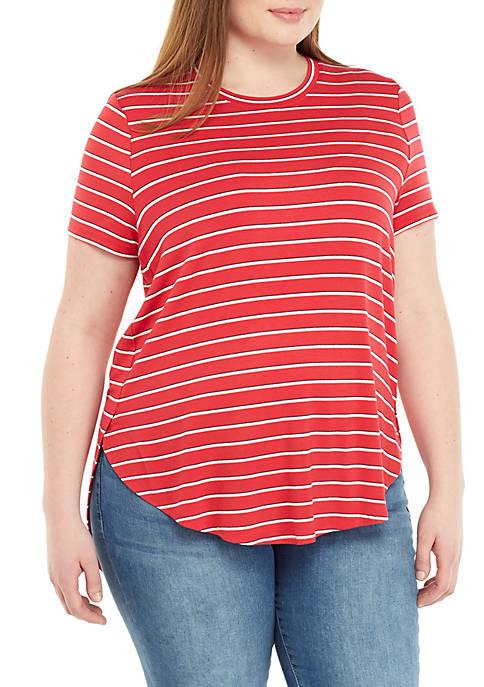 Plus Size Side Slit Stripe Knit Top