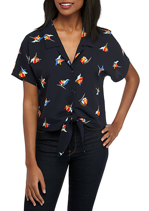 Madison Short Sleeve Tie Front Top