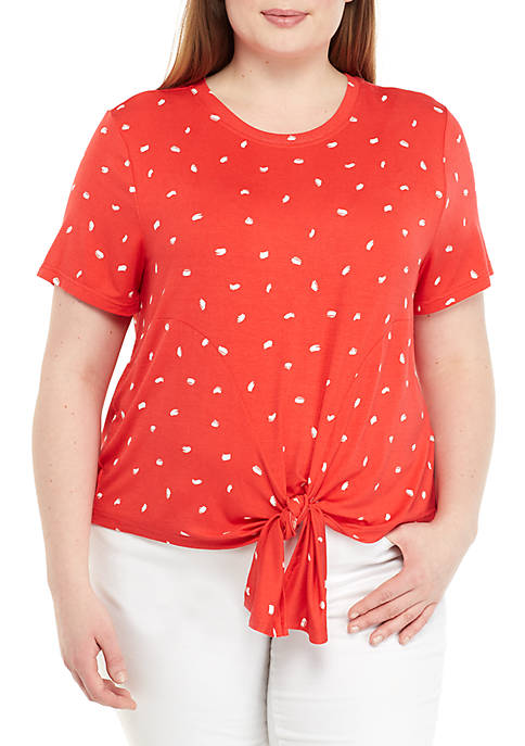 Madison Plus Size Tie Front Short Sleeve T