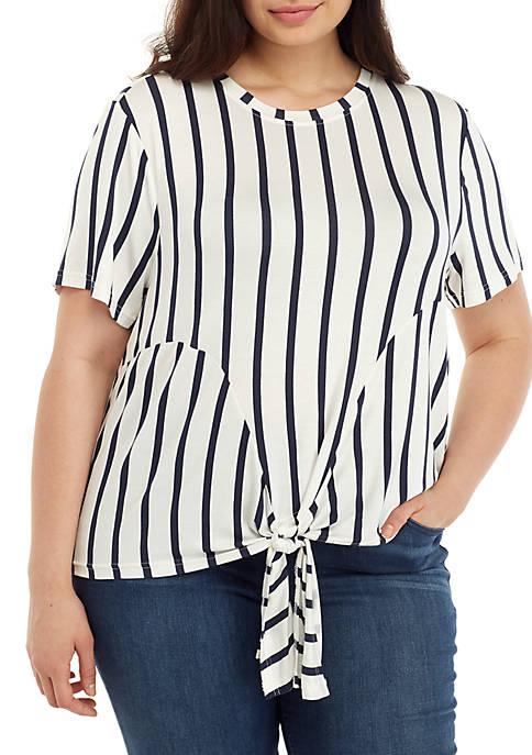 Madison Plus Size Short Sleeve Tie Front Stripe