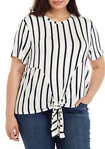 Madison Plus Size Short Sleeve Tie Front Stripe Top