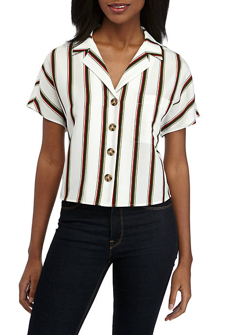 Short Sleeve Striped Camp Shirt