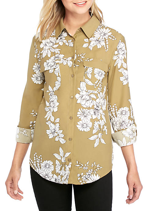 Green Floral Long Sleeve Stylish Shirt