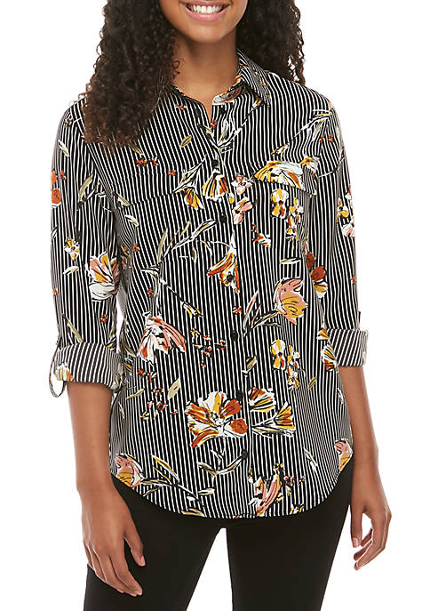 Madison Floral Stripe Long Sleeve Stylist Shirt