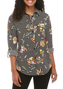 Madison Floral Stripe Long Sleeve Stylist Shirt