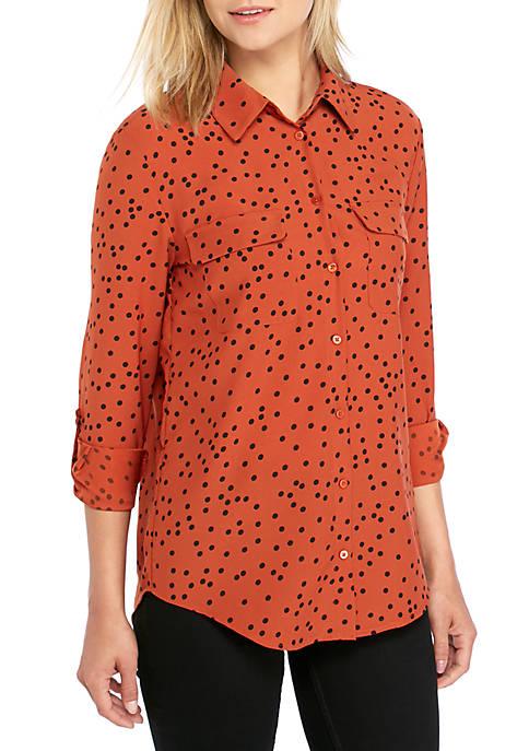Long Sleeve Dot Print Shirt
