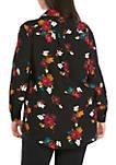 Plus Size Long Sleeve Floral Print Shirt