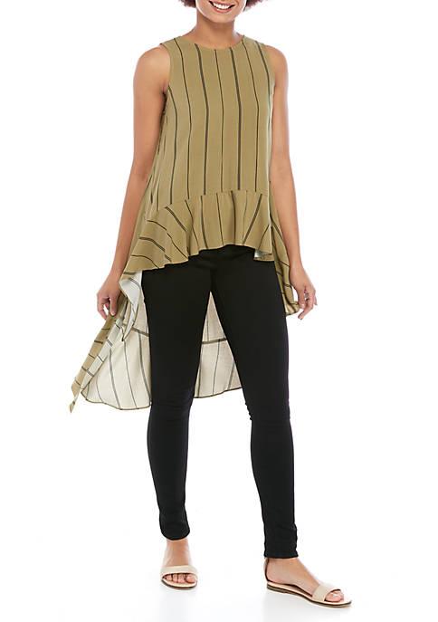 Sleeveless High Low Stripe Tunic
