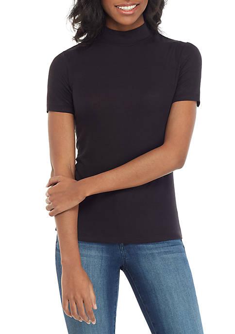 Short Sleeve Ribbed Mock Neck Top