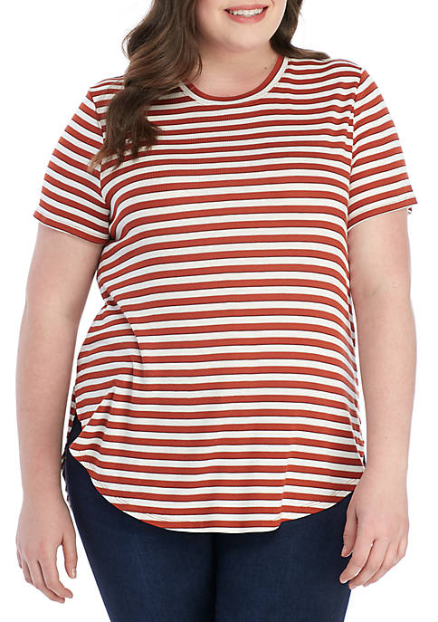 Madison Plus Size Striped Crew Neck T Shirt