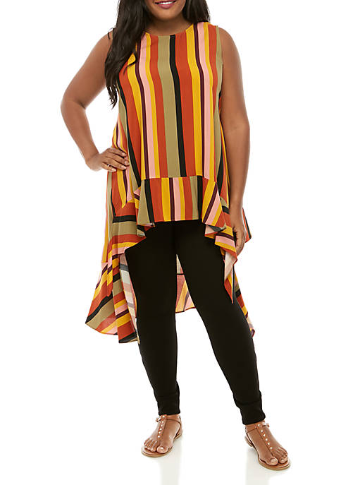 Madison Plus Size Multi Stripe High Low Ruffle