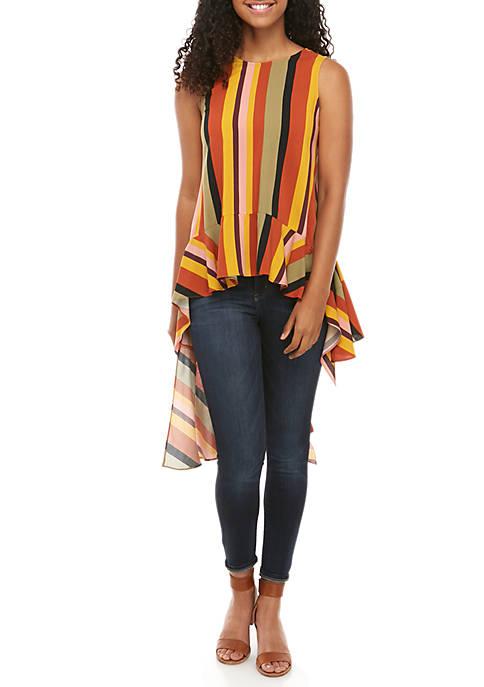 Madison Sleeveless High Low Multi Stripe Tunic
