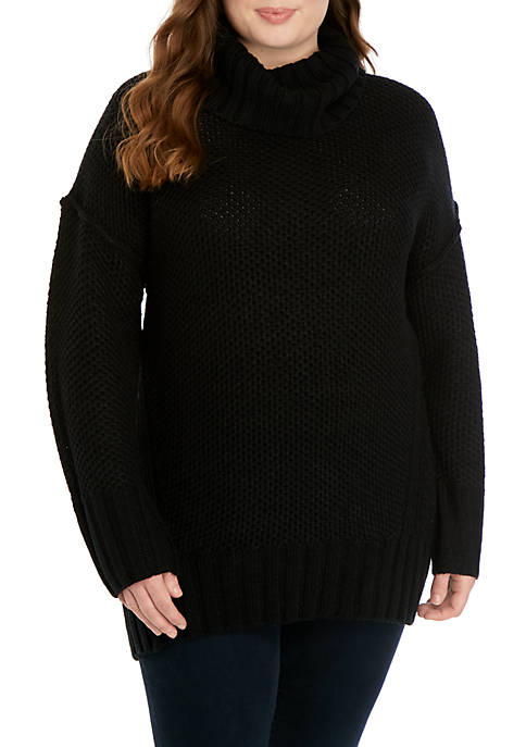Plus Size Mix Stitch Cowl Neck Sweater
