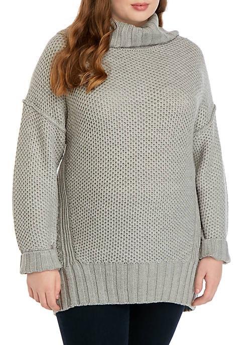 Madison Plus Size Mix Stitch Cowl Neck Sweater
