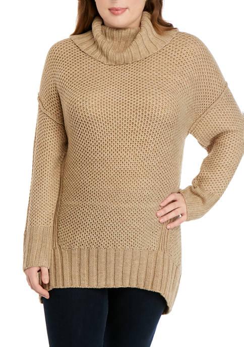 Plus Size Mix Stitch Cowl Neck Sweater