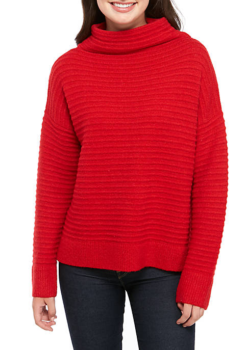 Mock Neck Ribbed Ottoman Sweater