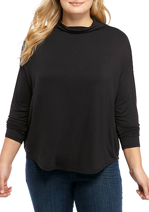 Plus Size Drop Shoulder Mock Neck Top