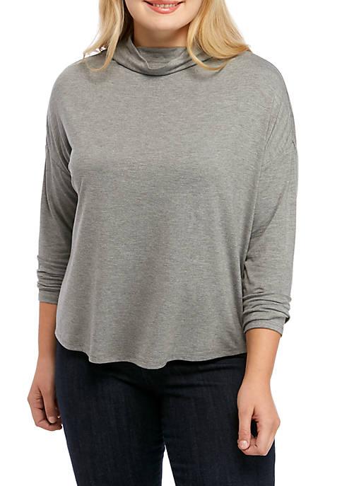 Plus Size Drop Shoulder Mock Neck Top