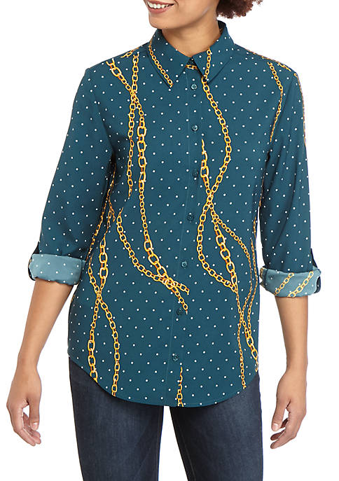 Madison Womens Status Print Stylist Shirt