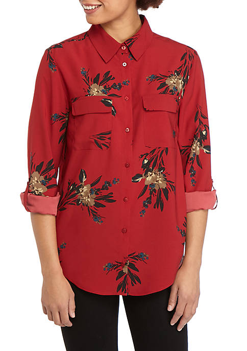 Madison Womens Floral Print Stylist Shirt