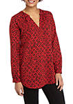 Womens Scattered Animal Print Popover Top