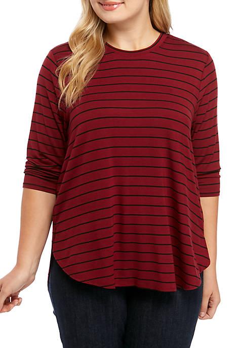 Plus Size 3/4 Basic T-Shirt