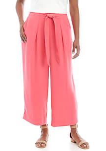 Madison Plus Size Paper Bag Waist Solid Crop Pants