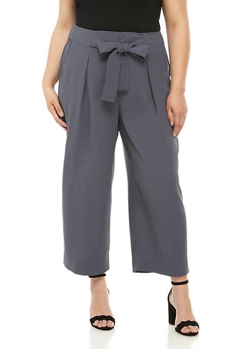 Madison Plus Size Paperbag Waist Crop Pants