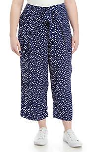 Madison Plus Size Paperbag Waist Cropped Pants
