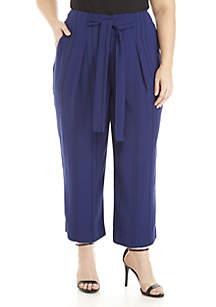 Plus Size Stripe Paperbag Waist Crop Pants