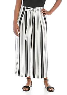 Madison Plus Size Paper Bag Waist Stripe Crop Pants