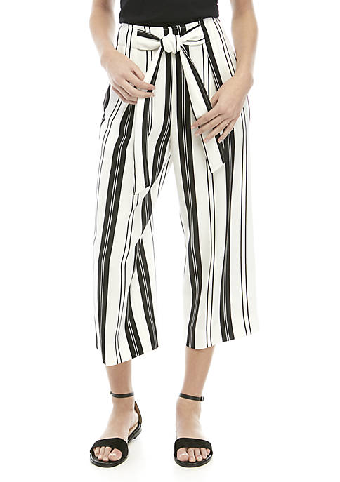 Madison Paper Bag Waist Striped Crop Pants