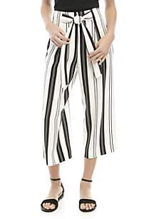 Madison Paper Bag Waist Striped Crop Pants