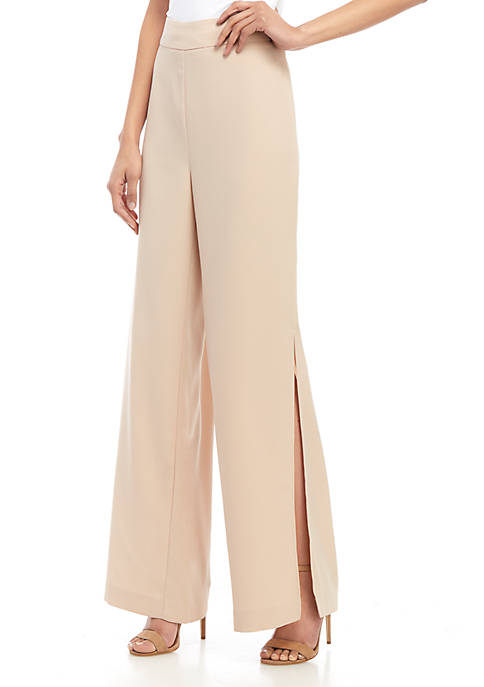 Full Length Wide Leg Side Slit Pants