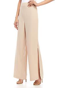 Madison Full Length Wide Leg Side Slit Pants