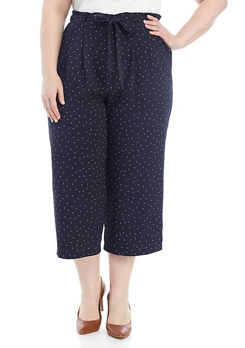 Madison Plus Size Polka Dot Cropped Pants