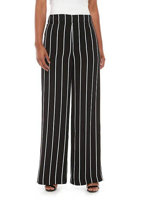 Side Zip Wide Leg Pinstripe Pants