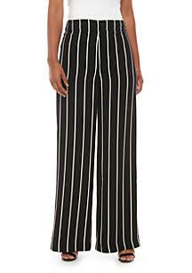 Madison Side Zip Wide Leg Pinstripe Pants