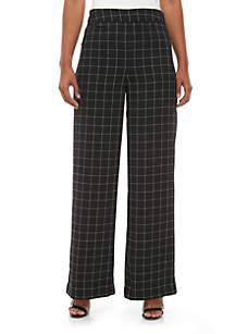 Madison Side Zip Wide Leg Windowpane Pants
