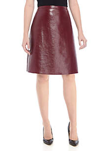 Pleather A-Line Skirt