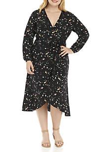 Plus Size High Low Wrap Dress
