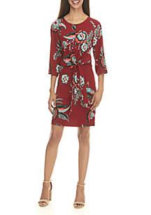 Tie Front Floral Print Dress