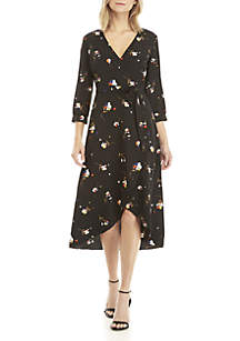 3/4 Sleeve Floral Surplice Dress