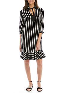 Madison 3/4 Sleeve Stripe Peasant Dress