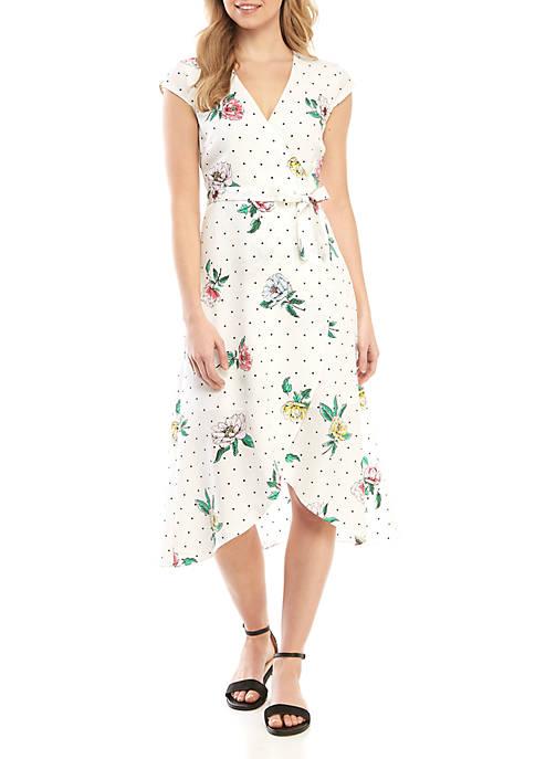 Polka Dot Floral Wrap Dress