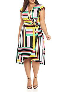 Madison Plus Size Map Print Wrap Dress