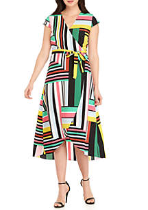 Madison Map Print Wrap Dress