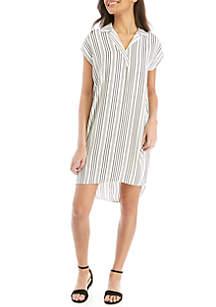 Madison Cap Sleeve Stripe Shirt Dress