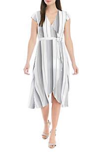 Madison Stripe Wrap Dress